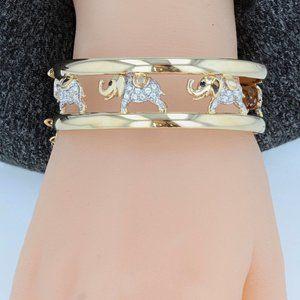 Jewelry - 14K CZ Lucky Elephants Clasped Bangle